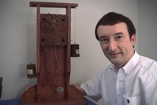 John Tope with wooden movement test stand